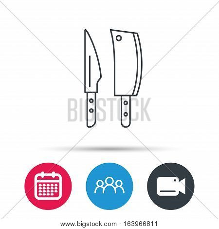 Butcher and kitchen knives icon. Chef tools symbol. Group of people, video cam and calendar icons. Vector
