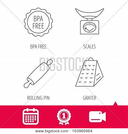 Achievement and video cam signs. Kitchen scales, rolling pin and grater icons. BPA free linear sign. Calendar icon. Vector