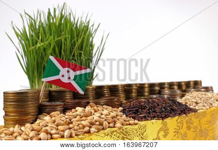 Burundi Flag Waving With Stack Of Money Coins And Piles Of Wheat And Rice Seeds