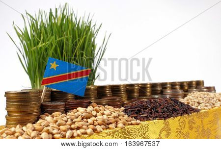 Democratic Republic Of The Congo Flag Waving With Stack Of Money Coins And Piles Of Wheat And Rice S