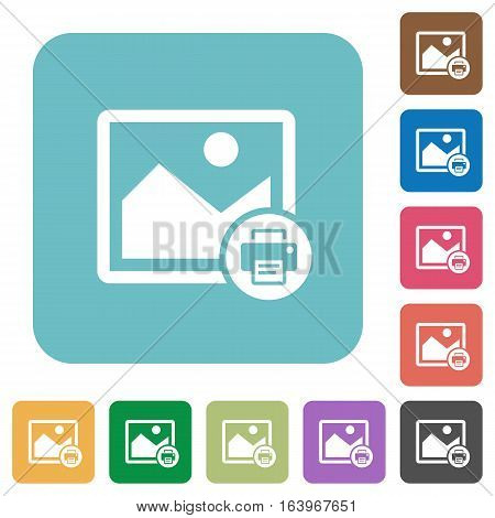 Print image white flat icons on color rounded square backgrounds