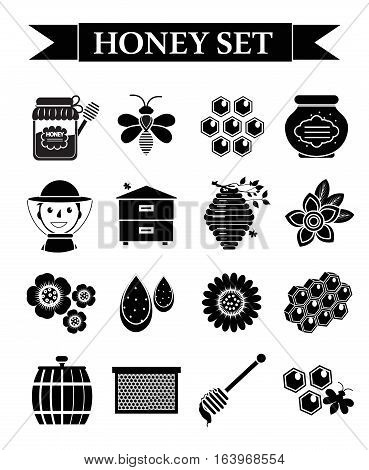 Honey icons set, black silhouette style. Beekeeping collection of objects isolated on white background. Apiculture kit of design elements. Vector illustration