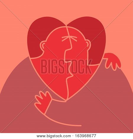 Abstract man and woman kissing each other. Their heads is in shape of the heart with male silhouette inside. Love triangle concept illustration.