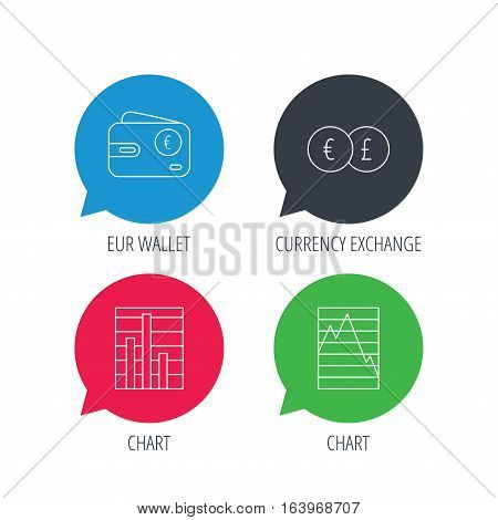 Colored speech bubbles. Currency exchange, chart and euro wallet icons. Statistics graph linear signs. Flat web buttons with linear icons. Vector