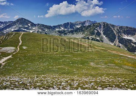 The path for climbing a Vihren peak and Hvoynati peak, Pirin Mountain, Bulgaria
