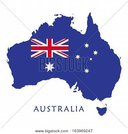 Australia day poster with Australia map, flag, stars on blue background. Greeting card design. Vector illustration.