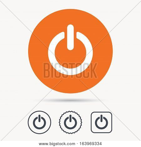 On, off power icon. Energy switch symbol. Orange circle button with web icon. Star and square design. Vector