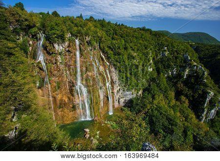 Amazing waterfall in Plitvice lake National Park Croatia