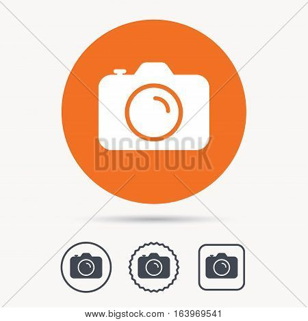 Camera icon. Professional photocamera symbol. Orange circle button with web icon. Star and square design. Vector