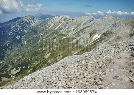 Amazing landscape from Vihren Peak to Koncheto and Banski Suhodol peak, Pirin Mountain, Bulgaria