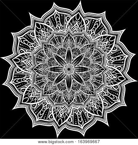 Round White Lace Ornament On Black, Vector Lace Doily, Mandala, Circle Lacy Decoration