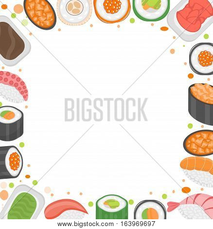 Sushi frame template with space for text. Japanese cuisine isolated on white background. Vector illustration, clip art
