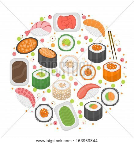 Sushi set icons, in round shape, flat style. Japanese cuisine isolated on white background. Vector illustration, clip art