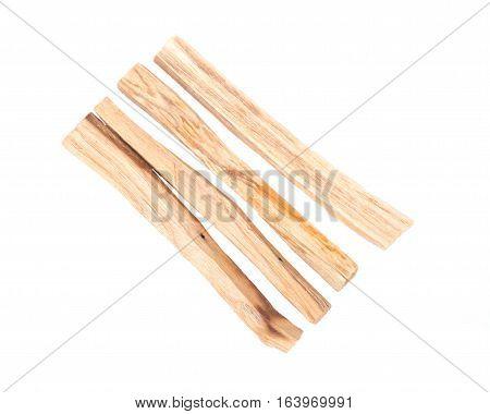 Palo santo smudging sticks isolated on white background