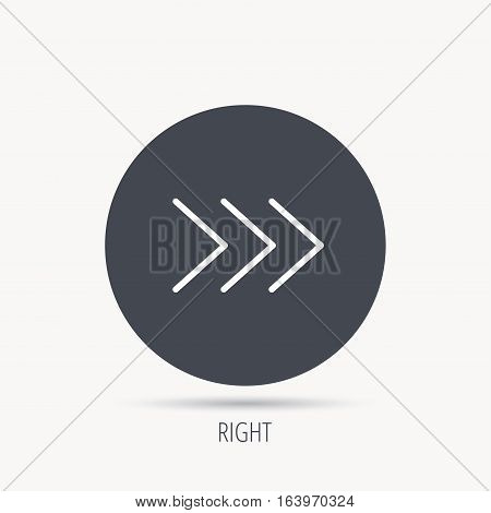 Right arrow icon. Next sign. Forward direction symbol. Round web button with flat icon. Vector