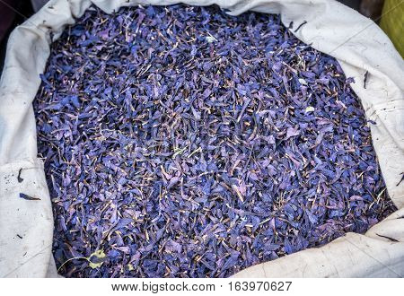 Borage petals for sale on Grand Bazaar in Tehran capital of Iran