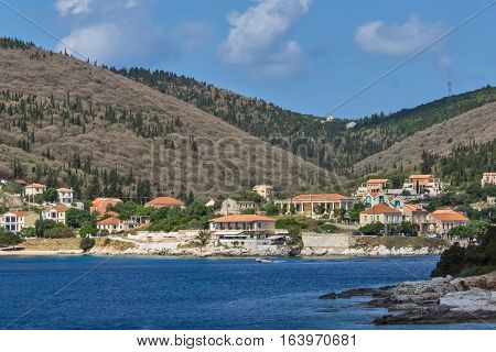 FISKARDO, KEFALONIA, GREECE - MAY 25  2015:  Amazing view of town of Fiskardo, Kefalonia, Ionian islands, Greece