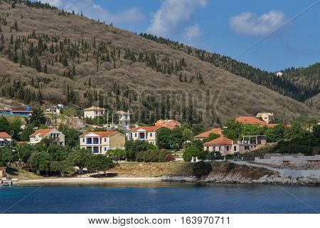 FISKARDO, KEFALONIA, GREECE - MAY 25  2015:  Panorama of town of Fiskardo, Kefalonia, Ionian islands, Greece
