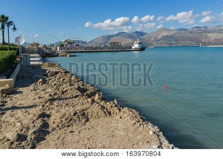 Lixouri, Kefalonia, Greece - May 25  2015:  Amazing seascape with Port of Lixouri town, Kefalonia, Ionian islands, Greece