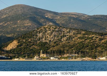 Argostoli, Kefalonia, Greece - May 25  2015:  Sunset Panorama to Kefalonia mountain from town of Argostoli,  Ionian islands, Greece
