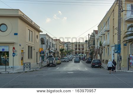 Argostoli, Kefalonia, Greece - May 25  2015:  Sunset view of Street in town of Argostoli, Kefalonia, Ionian islands, Greece