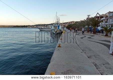 Argostoli, Kefalonia, Greece - May 25  2015:  Sunset view of Embankment of town of Argostoli, Kefalonia, Ionian islands, Greece