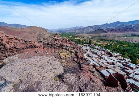 Sasanid era ruins on hills above Abyaneh - one of the oldest villages in Iran