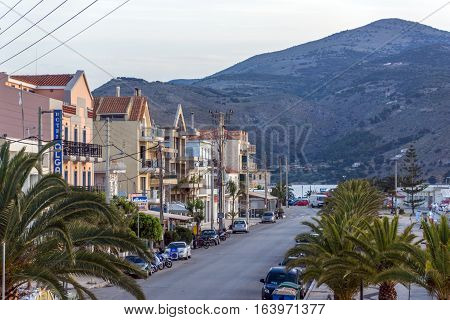 Argostoli, Kefalonia, Greece - May 26 2015:  Sunrise view of Embankment of town of Argostoli, Kefalonia, Ionian islands, Greece