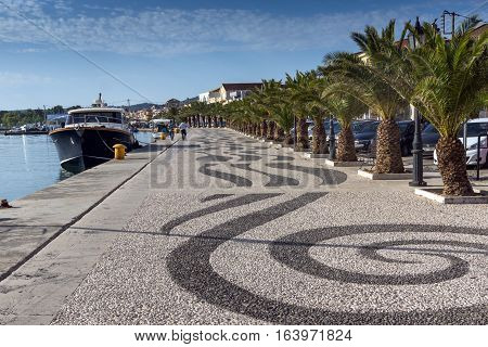 Argostoli, Kefalonia, Greece - May 26 2015:  Embankment of town of Argostoli, Kefalonia, Ionian islands, Greece