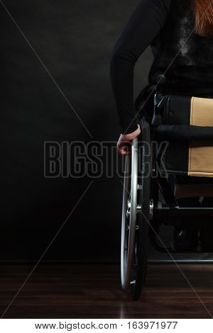 Backside Of Disabled Person.