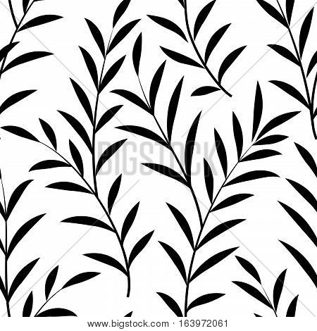 Abstract floral pattern Floral branch with leaves silhouette black and white ornamental nature texture. Stylish plant ornamental background