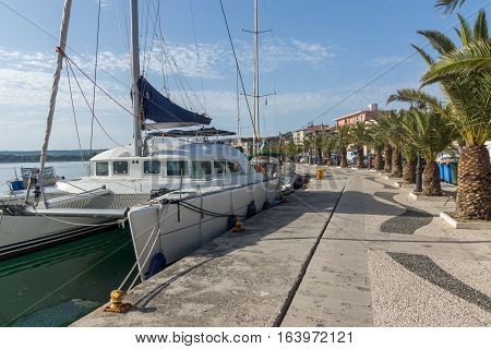 Argostoli, Kefalonia, Greece - May 26 2015:   Panorama of Embankment and port of town of Argostoli, Kefalonia, Ionian islands, Greece