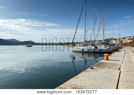 Argostoli, Kefalonia, Greece - May 26 2015:  Amazing Panorama of Embankment and port of town of Argostoli, Kefalonia, Ionian islands, Greece
