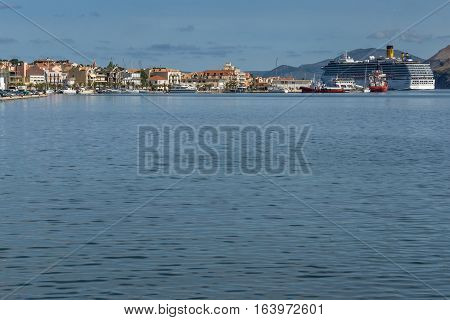Argostoli, Kefalonia, Greece - May 26 2015:  Panorama of town of Argostoli and cruise ship, Kefalonia, Ionian islands, Greece