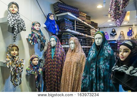 Shop with hijabs and chadors in Isfahan city Iran