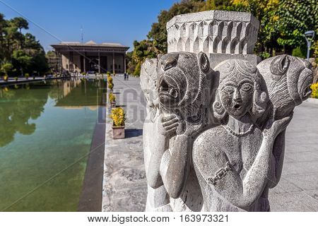 Chehel Sotoun pavilion and pool in Isfahan city Iran