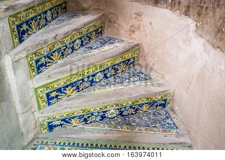 Tiled stairs in Ali Qapu palace in Isfahan city Iran