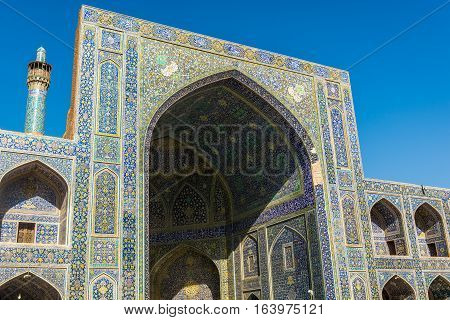 View from main courtyard of Shah Mosque also called Imam mosque in Isfahan Iran