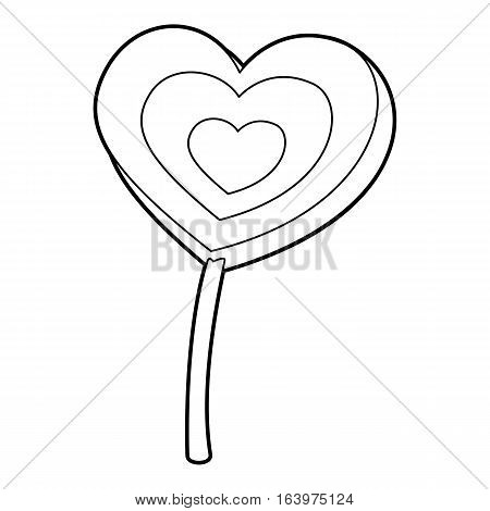 Lollipop heart icon. Outline illustration of lollipop heart vector icon for web