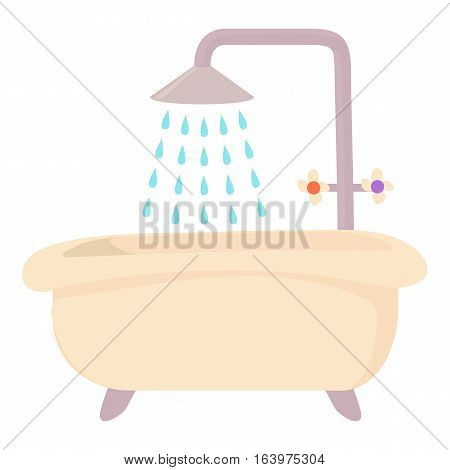 Bath with shower icon. Cartoon illustration of bath with shower vector icon for web