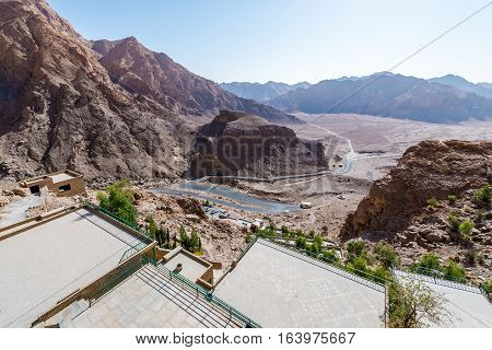 Aerial view from Chak Chak mountain village in Iran holy place for Zoroastrians