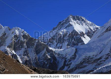 Scene in the Everest National Park. High mountain Khumbutse.
