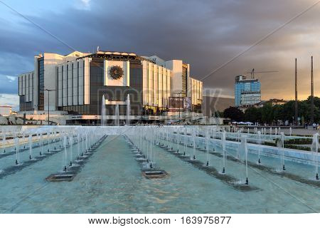 Sofia, Bulgaria - July 3, 2016: Sunset view of National Palace of Culture in Sofia, Bulgaria