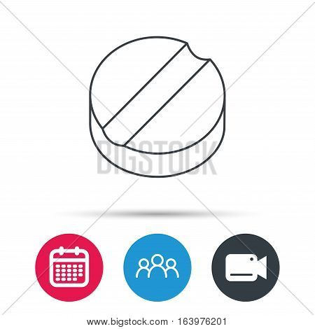 Tablet icon. Medicine drug sign. Pharmaceutical cure symbol. Group of people, video cam and calendar icons. Vector