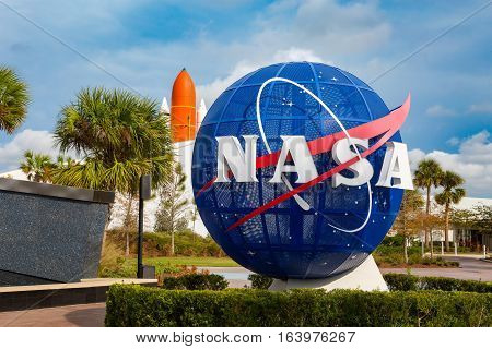 Cape Canaveral, Florida, USA - JAN, 2017: Kennedy memorial next to the Nasa globe. United States