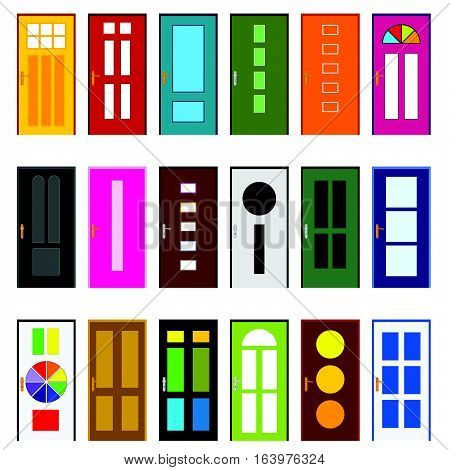 Door Entrance Set In Various Poses Design Illustration