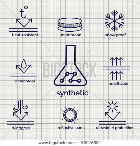 Modern syntetic fabric feature sketch ball pen icons on notebook page background. Vector illustration