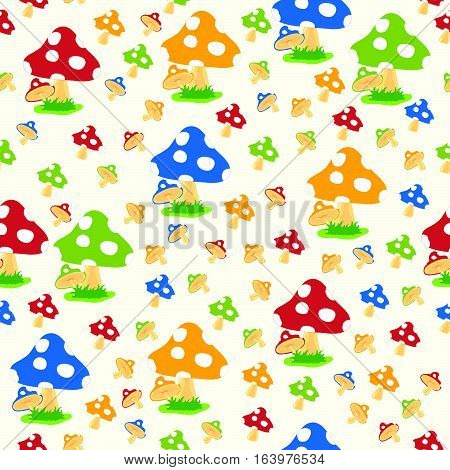Pattern Of Mushroom Set Illustration On White Background
