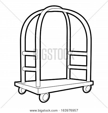 Cart in hotel icon. Outline illustration of cart in hotel vector icon for web