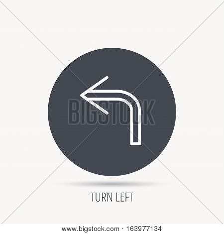 Turn left arrow icon. Previous sign. Back direction symbol. Round web button with flat icon. Vector